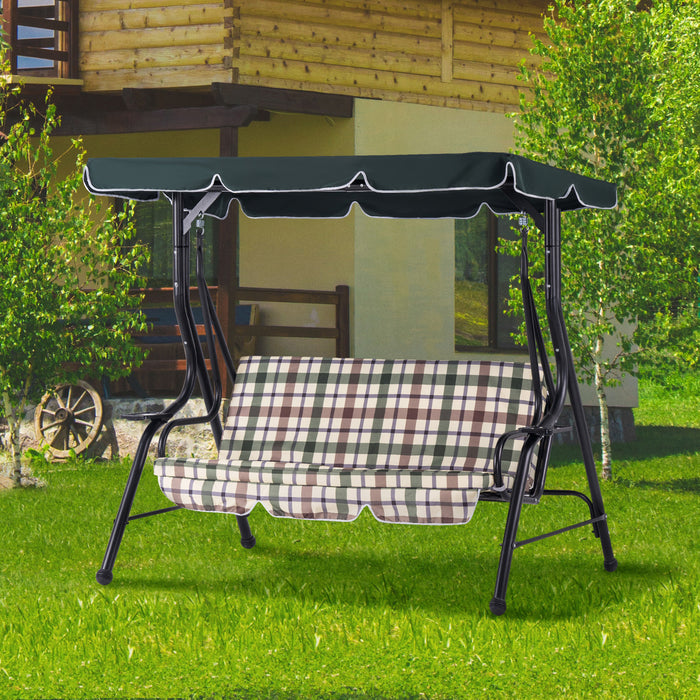 Mcombo 3-Person Outdoor Porch Canopy Swing Patio Hanging Swing with Steel Stand, UV Protection Convertible Canopy, w/Removable Cushions, 4008