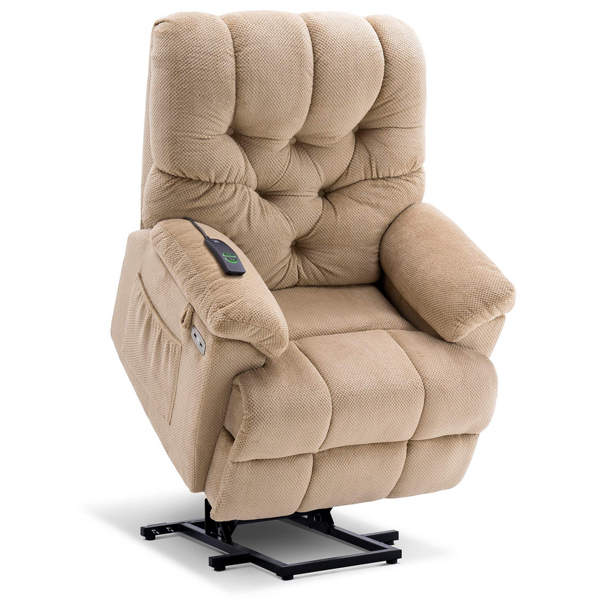 Mcombo Electric Power Lift Recliner Chair with Extended Footrest for Elderly People, 3 Positions, Wide Legrest, Hand Remote Control, USB Ports, 2 Side Pockets, Fabric 7575