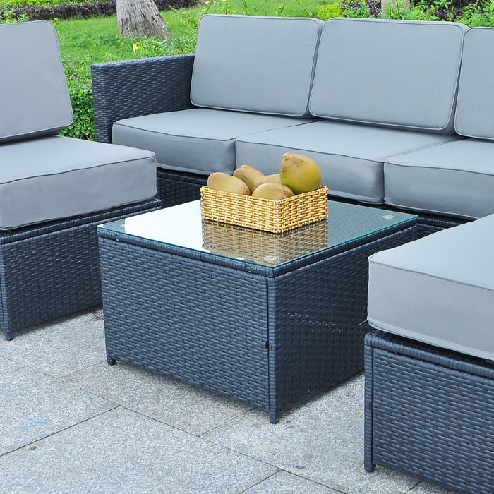 Mcombo Outdoor Patio Rattan Wicker Sofa Black Coffee Table Garden Sectional Set with desk 6085-1005TT
