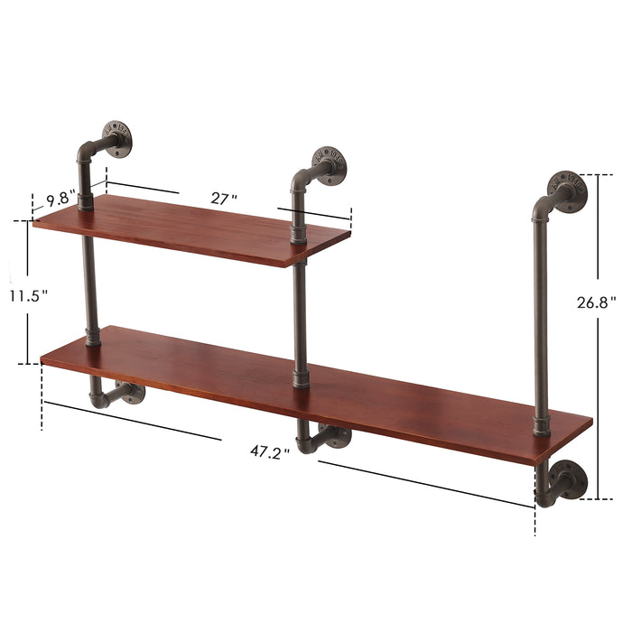 "MCombo Industrial Pipe Shelves 2-Tier Wall Mounted Solid Wood Shelf Rustic 47"" Long Wall Shelf Vintage Hanging Bookshelf Floating Pipe Bookcases Storage for Living Room, Bathroom, Kitchen ,6090-Medoc-M2, 6090-Snail-S2L"