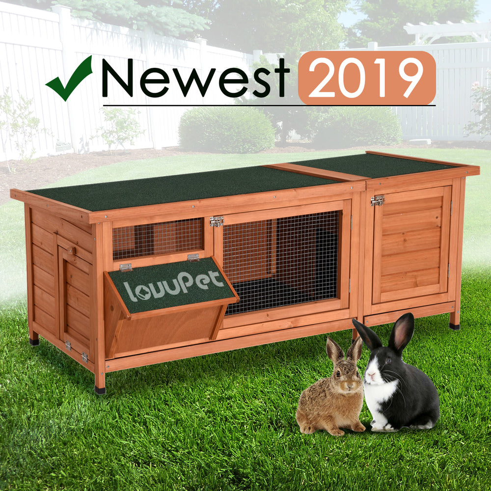 USED Lovupet Wooden Outdoor Indoor Bunny Hutch Rabbit Cage with Feeding Trough Guinea Pig Coop Pet House for Small Animals with Six Legs 1550