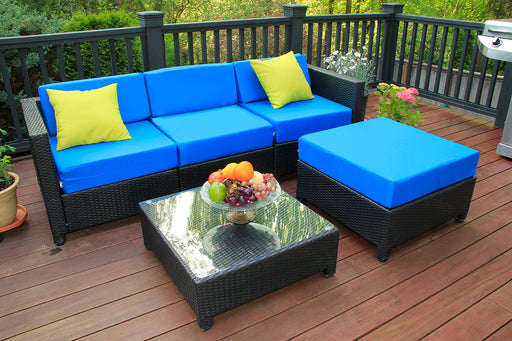 mcombo 5PC Outdoor Garden Patio Furniture Sectional Wicker Rattan Sofa Chair Couch Table Cushion Aluminum Frame 6080-1005