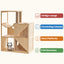 Mcombo Wooden Cat House for Indoor Cats, Solid Wood Cat Condo with Scratching Columns 0505