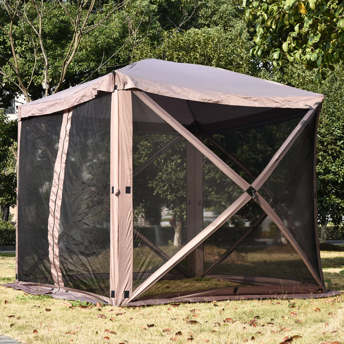 Mcombo Gazebo Tent Pop-Up Portable 4-Sided Hub Durable Screen Tent (4-6 Person) 6052-1024BR-4PC