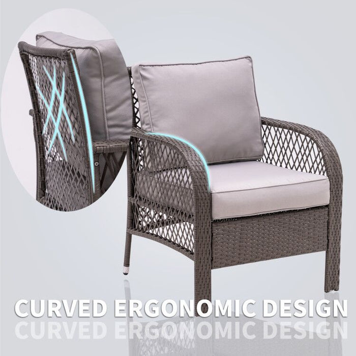 Mcombo Wicker Patio Furniture Sofa Set,4 Pieces Outdoor Wicker Chair Cushioned Lounge Loveseat, All-weather Lawn Mix Gray&Brown Rattan Conversation Chair with Tempered Glass Coffee Table for Backyard and Garden 6082-9576BR