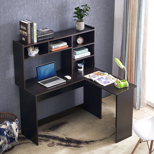 Mcombo Modern Computer Desk with Hutch L Shaped Gaming Desk Corner Desk with Shelves for Small Space Home Office Dark Brown 7194BK 47.24W x 41.93D x 53.15H inch