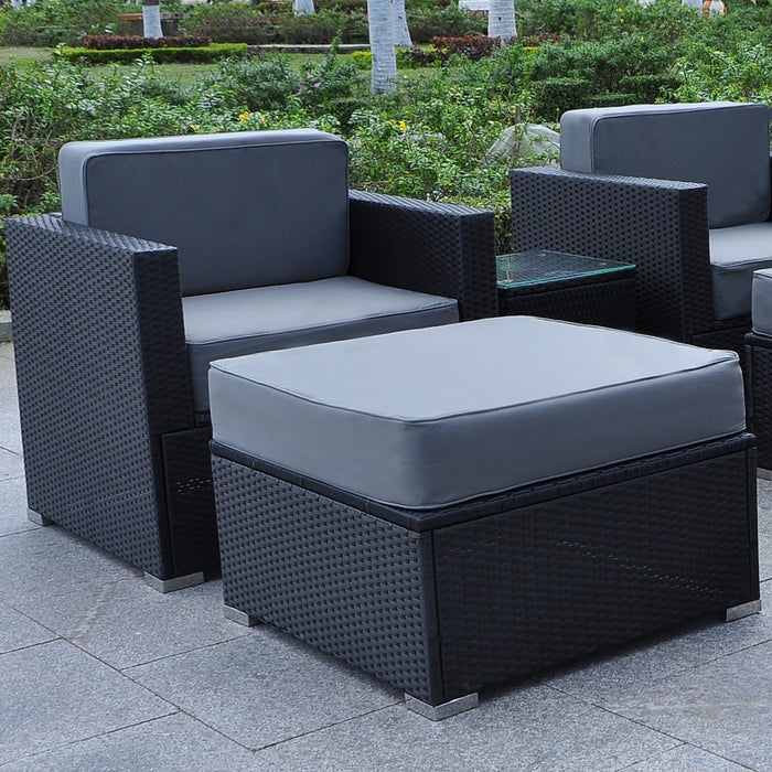Mcombo Outdoor Patio Black Wicker Furniture Sectional Set All-Weather Resin Rattan Chair Modular Sofas with Water Resistant Cushion Covers 6082-5003AS-BK