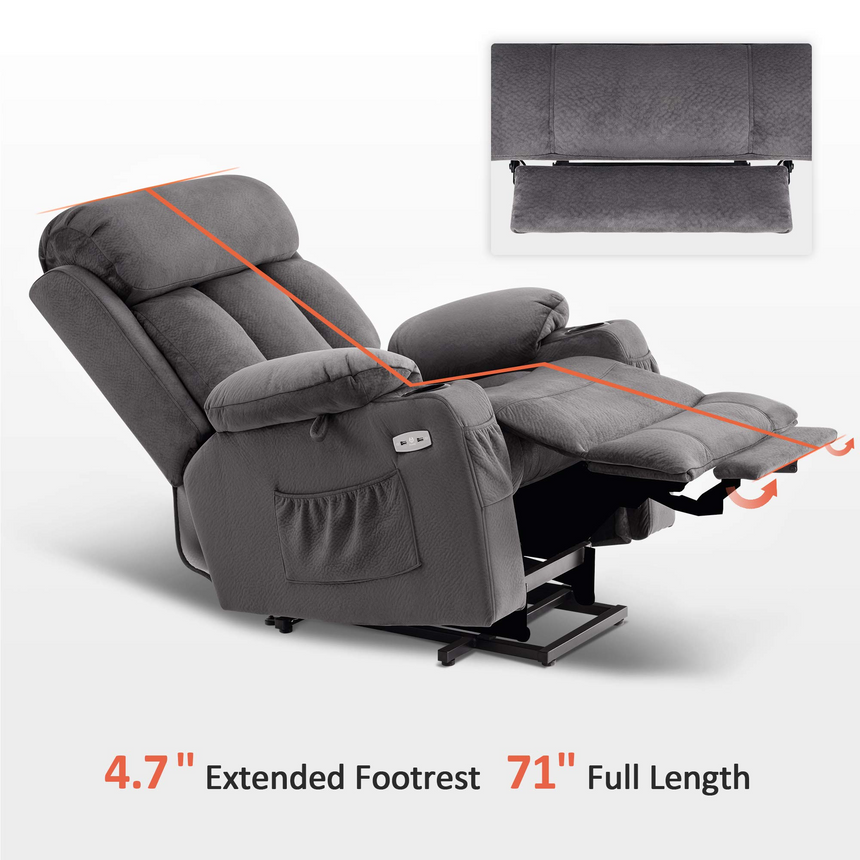 Mcombo Large Electric Power Lift Recliner Chair with Extended Footrest for Big and Tall Elderly People, Hand Remote Control, Lumbar Pillow, Cup Holders, USB Ports, Fabric 7426
