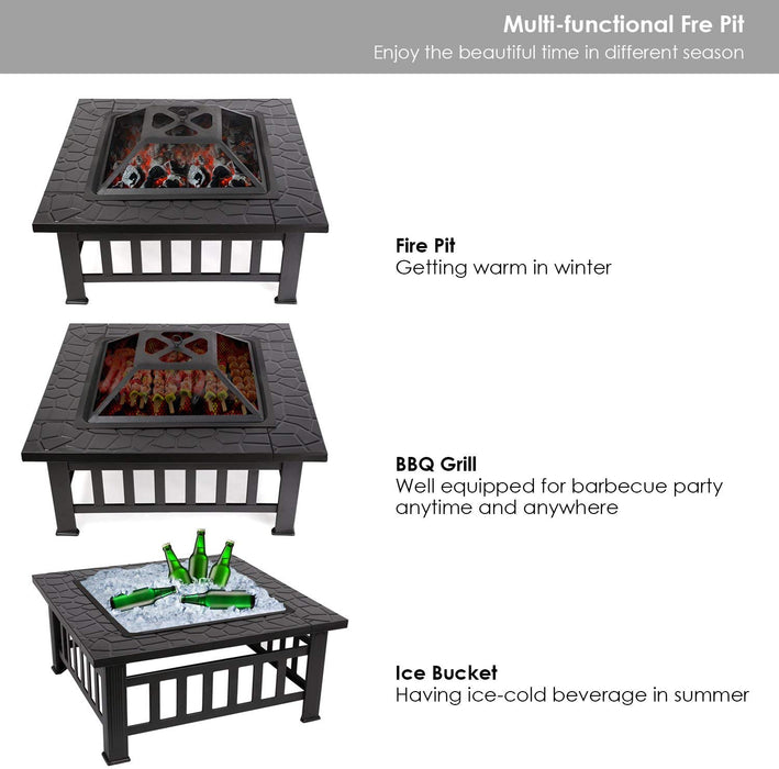 "Mcombo 32"" Metal Fire Pit Square Table Backyard Patio Terrace Fire Bowl Heater/BBQ/Ice Pit with Charcoal Rack Waterproof Cover 0039, Black"
