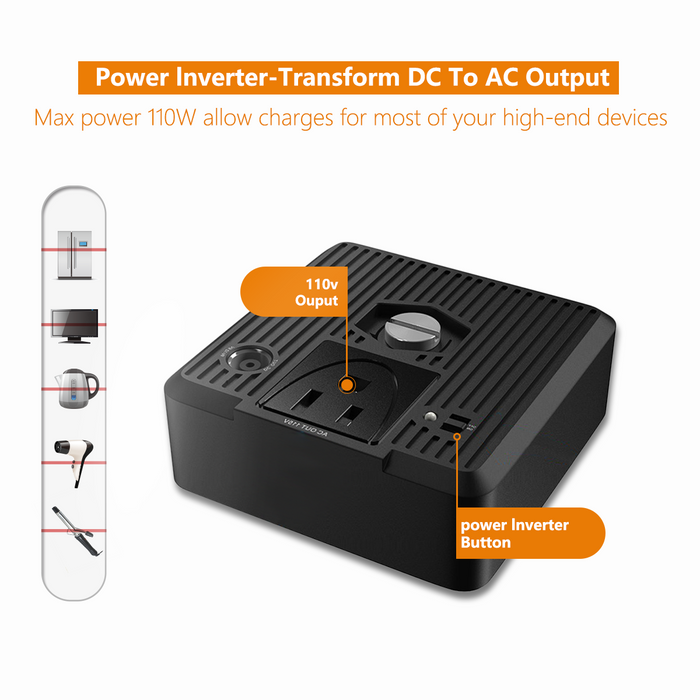 370Wh/100000mAh Portable Generator Power Source Supply Energy Storage Battery Charged by AC Outlet USB LED