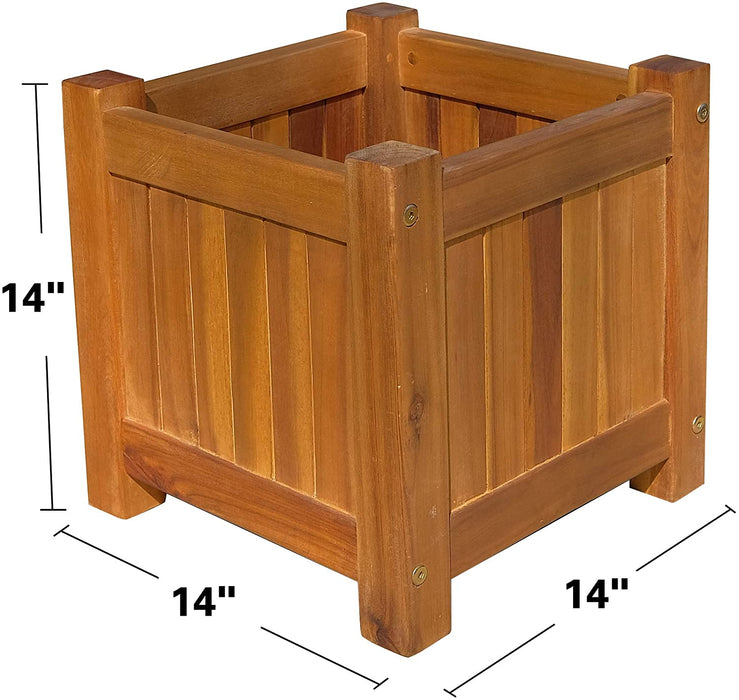 "Mcombo Acacia Wood Planter Box Rustic 13.7""x13.7"" Square Herb Vegetable Pot for Window ,Outdoor,Garden, Patio, and Porch 6083-HP01-WD"