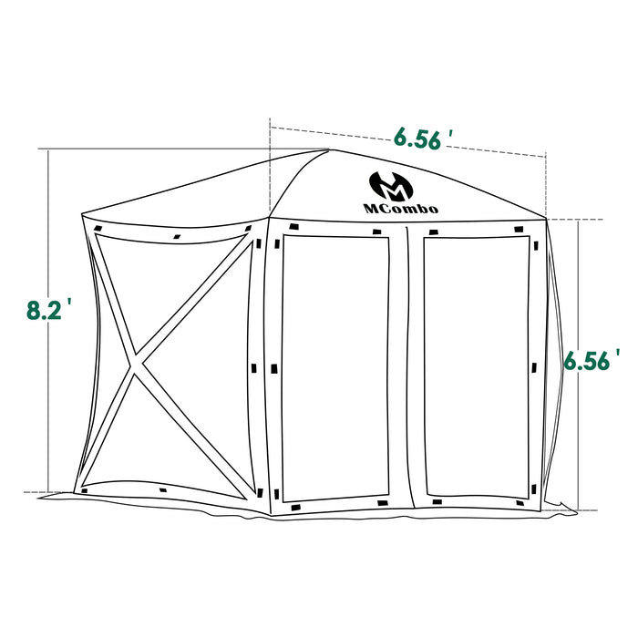 Mcombo 5-Sided Gazebo Portable Pop Up Tent Canopy, Shelter Hub Screen Tent for Outdoor Party (5-7 Persons), 1024-5PC