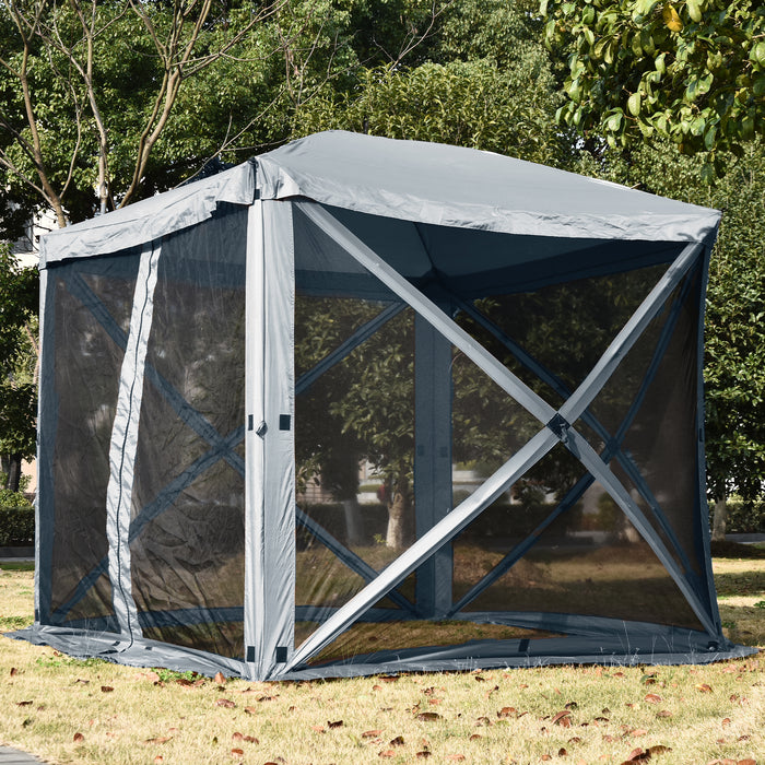 Mcombo Gazebo Tent Pop-Up Portable 4-Sided Hub Durable Screen Tent (4-6 Person) 6052-C1024W-4pc