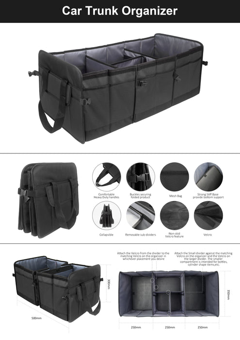 Mcombo Portable Multi Collapsible Car Organizer Vehicle Storage & Car Trunk Storage Bin Auto Grocery Organize Box, Vehicle Tools or Truck Storage Case Auto Home Use All Types Vehicles, 7170-OG01