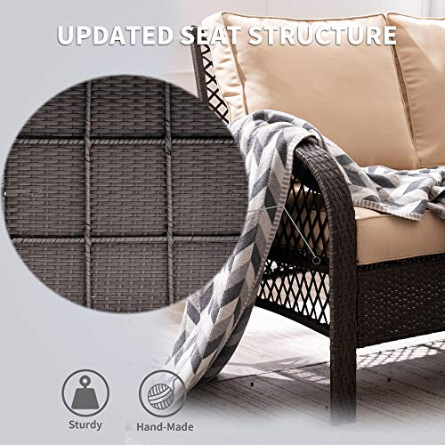 Mcombo Wicker Patio Furniture Sofa Set,4 Pieces Outdoor Wicker Chair Cushioned Lounge Loveseat, All-weather Lawn Gray Rattan Conversation Chair with Tempered Glass Coffee Table for Backyard and Garden 6082-9576BR