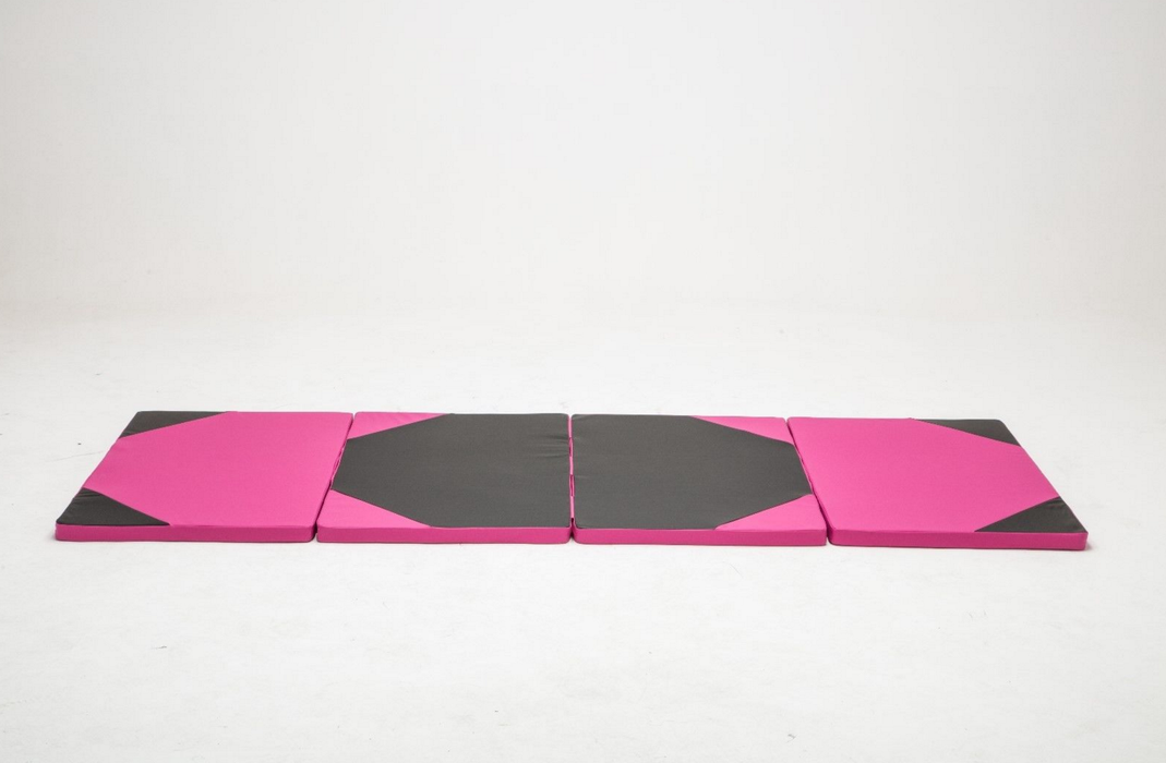 ExacMe 10'x4'x2'' Thick Folding Panel Gymnast Leather Exercise Floor Mat Yoya Mat, 6152-0410