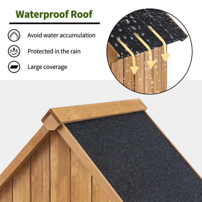 "Mcombo 70"" Wooden Garden Shed Wooden Lockers with Fir Wood, Fashionable Design with Double Doors Cabinet 0770"