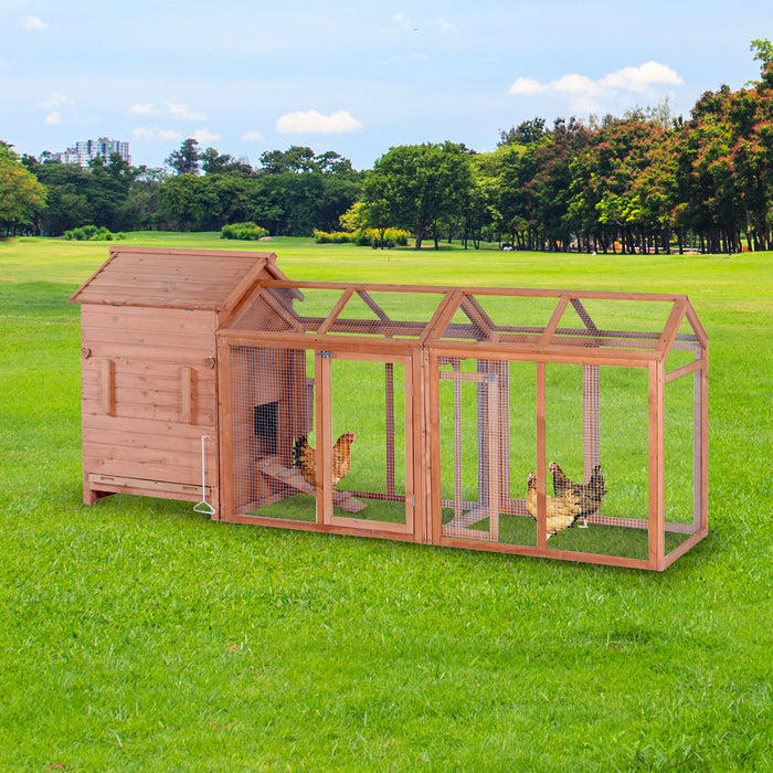 Lovupet 108'' Chicken Coop Wood Hutch Poultry Hen House Nesting Box Backyard Run 0319