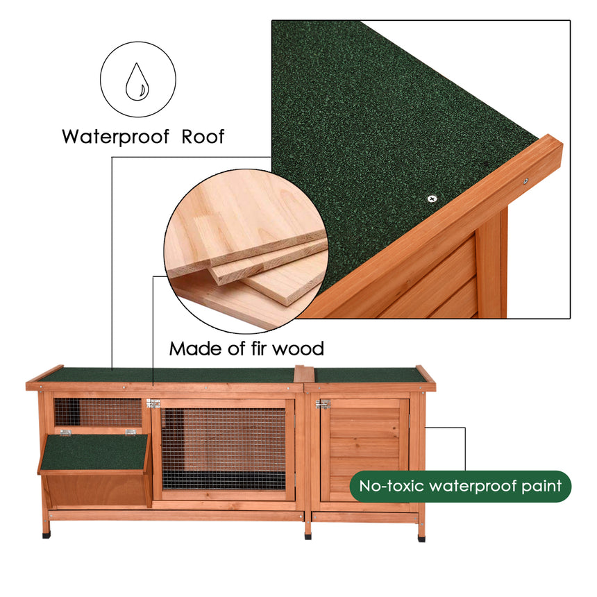Lovupet Wooden Outdoor Indoor Bunny Hutch Rabbit Cage with Feeding Trough Guinea Pig Coop Pet House for Small Animals with Six Legs 1550D/1551S