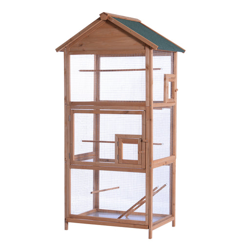 "Lovupet 70"" Wood Bird Cage Play House Parrot Finch Cockatoo Macaw Aviary Pet Supply 0011"
