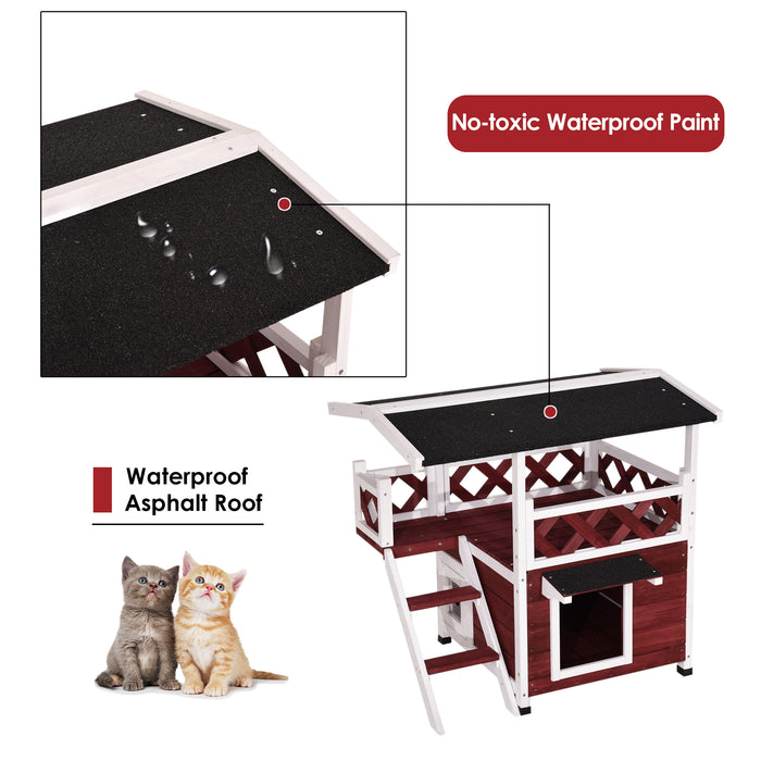 Lovupet Wooden Weatherproof Outdoor/Indoor Cat Kitty Shelter Condo House with Balcony 0507