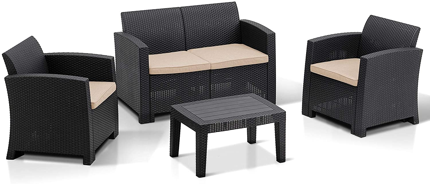 MCombo 5pc All Weather Outdoor Patio Garden Bench Furniture Set w/ Removable Seat Cushions, Plastic Charcoal Wicker Pattern Sofa , Optional Color and Combination 6050-800