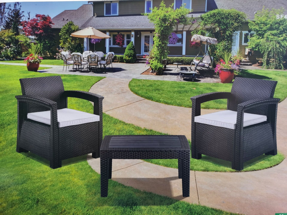 MCombo 5pcs Patio Furniture Set All-Weather Outdoor Sectional Sofa Rattan Pattern Patio Conversation Set w/Seat Cushions 6050-SF04