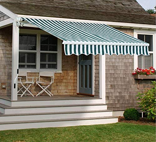 MCombo 12x10 FT Manual Retractable Patio Window Awning Commercial Grade - Quality 100% 280G Polyester Sunshade Shelter Outdoor Canopy Aluminum Frame
