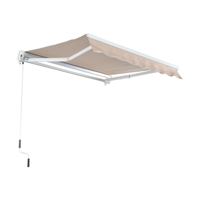 USED MCombo 13x8 10x8 12x10 FT Manual Retractable Patio Window Awning Commercial Grade - Quality 100% 280G Polyester Sunshade Shelter Outdoor Canopy Aluminum Frame