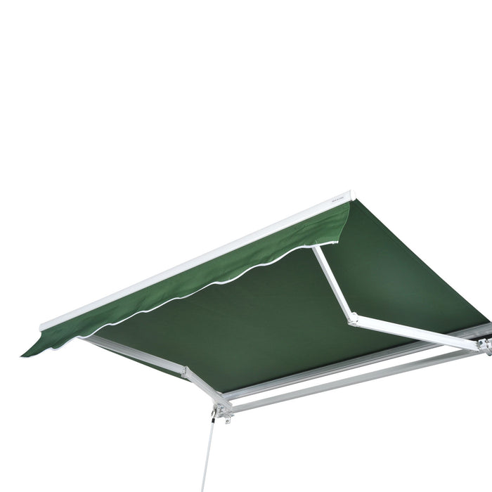 MCombo 13x8 10x8 12x10Ft Manual Retractable Patio Deck Awning Sunshade Shelter Outdoor Canopy Brown