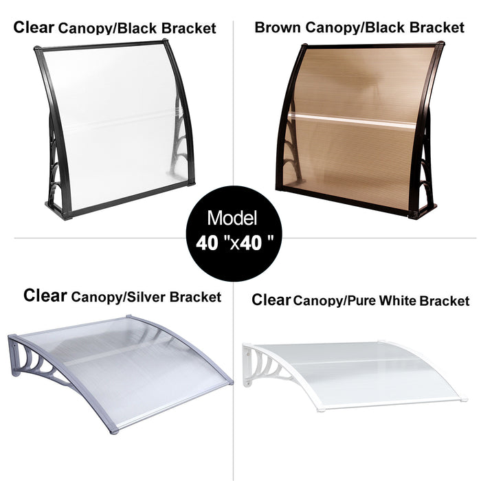 "MCombo 39""×39"" Window Awning Outdoor Polycarbonate Front Door Patio Cover Garden Canopy"