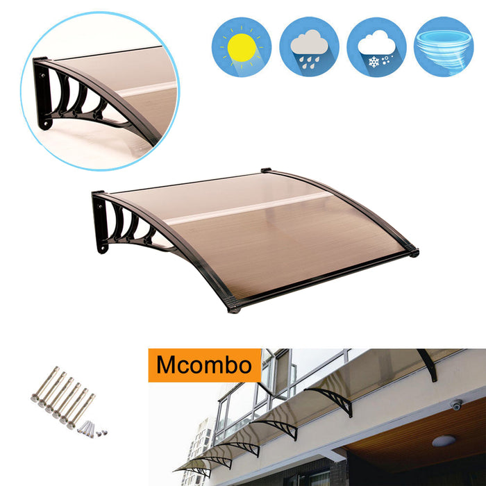 "MCombo 40""×40"", 40""×80"" ,or 40""×120"" Window Awning Outdoor Polycarbonate Front Door Patio Cover Garden Canopy 6055-4040/4080/4012"