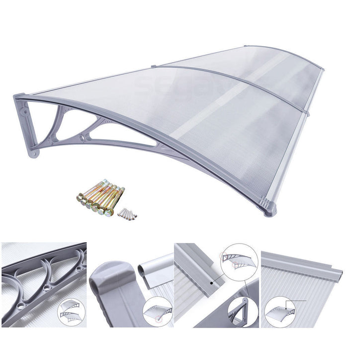 "MCombo 39""×78"" Window Overhead Door Awning Patio Outdoor Polycarbonate Cover Front Door Rain Sun Shetter Garden Canopy Hollow Sheet"