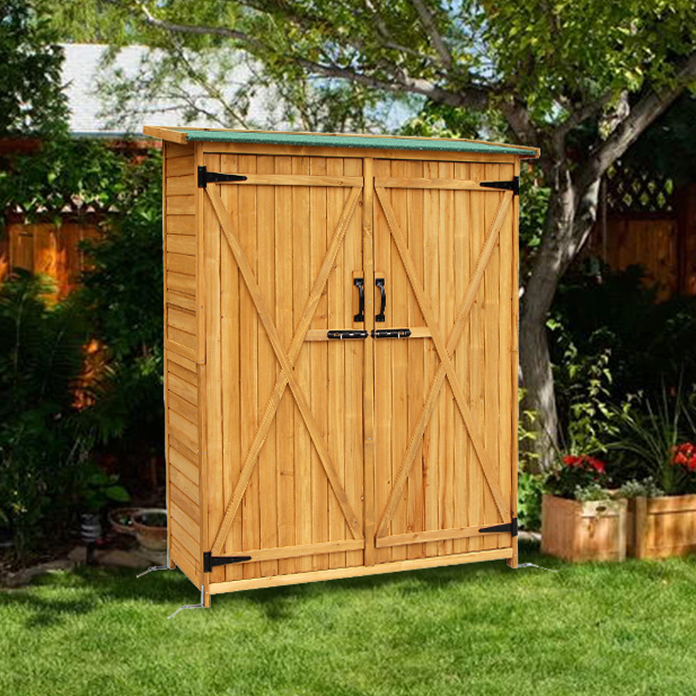 "USED Mcombo 64"" Tall Fir Wood Shed Garden Storage Shed Wood Color Wooden Double Locker Doors 6056-1400"