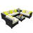 mcombo 8 PC Deluxe Outdoor Garden Patio Rattan Wicker Furniture Sectional Sofa Cushioned Seats 6080 Aluminum frame 6080-1008