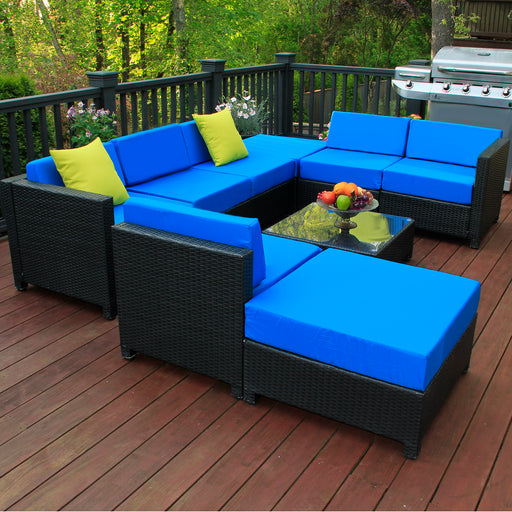 mcombo 9PC Deluxe Outdoor Garden Patio Rattan Wicker Furniture Sectional Sofa Cushioned Seats 6080 Aluminum frame 6080-1009