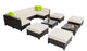 mcombo 12PC Deluxe Outdoor Garden Patio Rattan Wicker Furniture Sectional Sofa Cushioned Seats 6080 Aluminum frame 6080-1012
