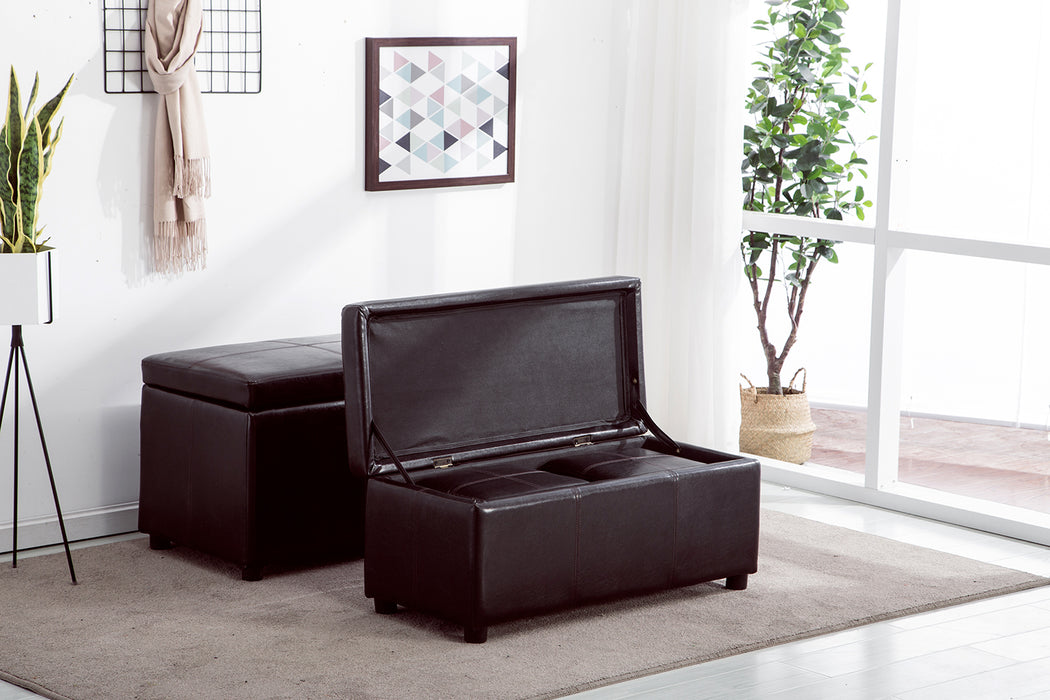 "Mcombo 4pc Black Faux Leather 48"" Storage Ottoman Wating Chair Auditorium Chair Foot Rest Shoe Bench Living Room Organize Box"