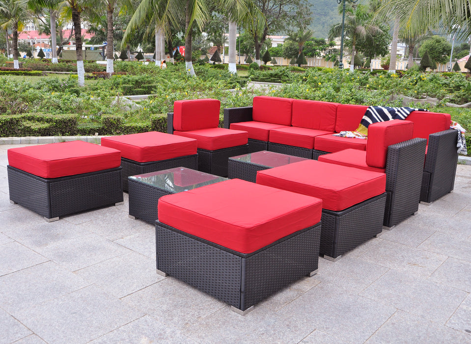 Black Wicker Patio Sectional Outdoor Sofa Chair Furniture Table 6082-5005ST-BK