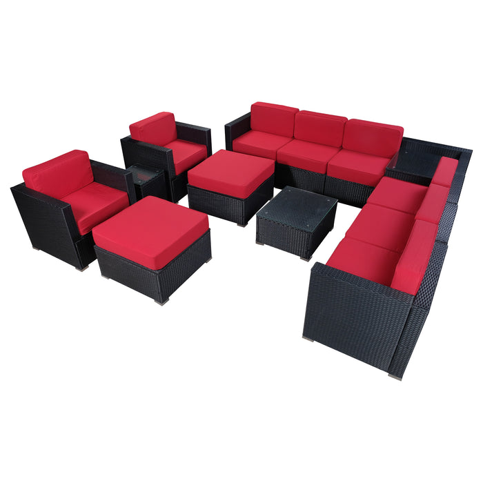 mcombo 13 PC Outdoor Furniture Patio Wicker Sofa Chair With Cushion Sectional Garden Seat 6082-13PC