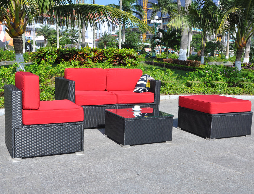 mcombo 5 PC Outdoor Patio Furniture Wicker Chair Sofa Sectional With Cushion Seat 6082-5PC