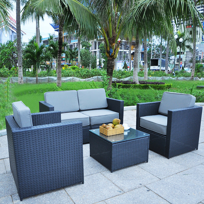 Mcombo Patio Furniture Sectional Set Wicker Sofa All-Weather Resin Black Rattan Chair Conversation Sofas with Water Resistant Cushion Covers 6085-S1004