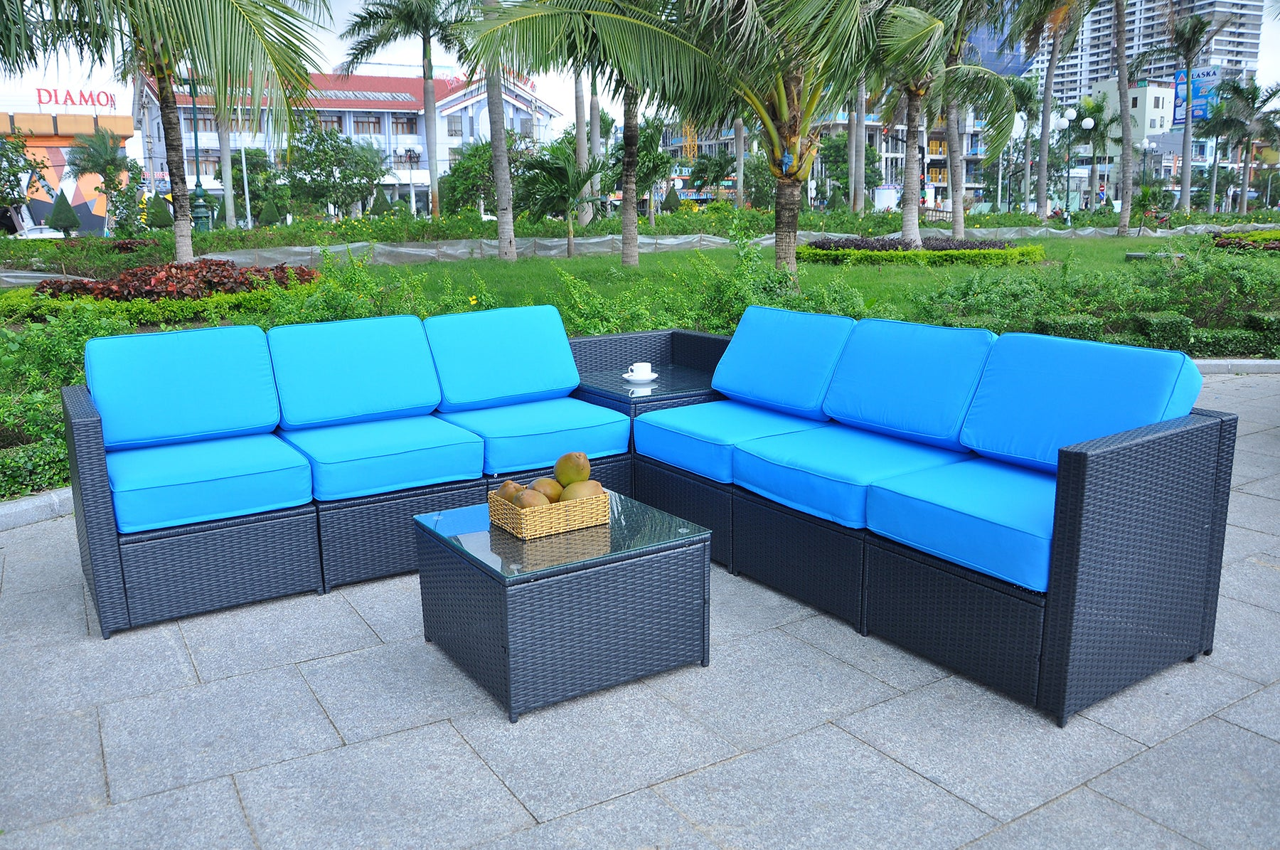 Mcombo Outdoor Patio Black Wicker Furniture Sectional Set All-Weather Resin Rattan Chair Conversation Sofas with Water Resistant Cushion Covers 6085 8PC