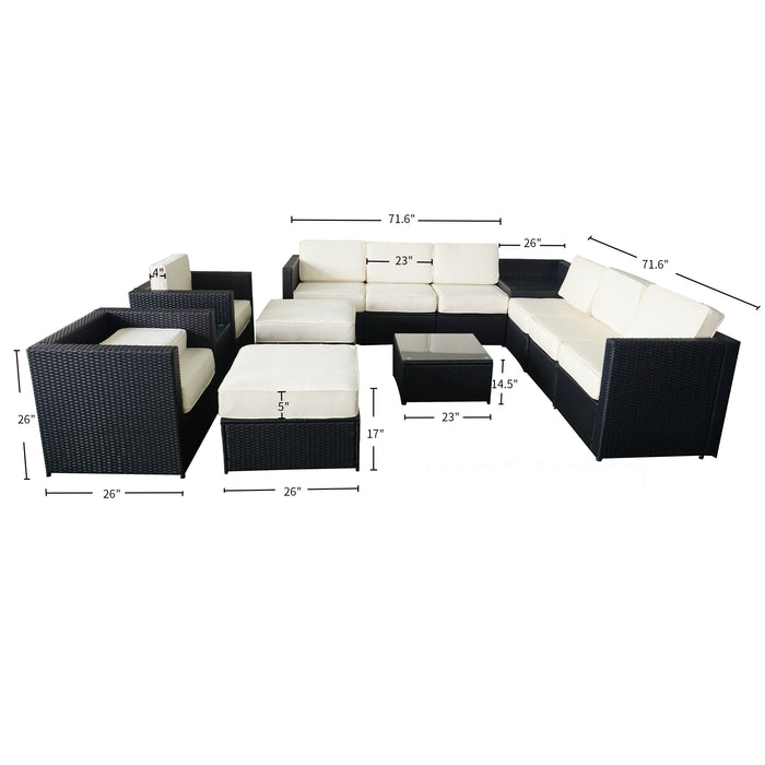 Mcombo Outdoor Patio Black Wicker Furniture Sectional Set All-Weather Resin Rattan Chair Conversation Sofas with Water Resistant Cushion Covers 6085-S1013