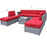 Gray Patio Furniture Sectional Set Outdoor Wicker Sofa Rattan Chair with Cushion 6086-1009