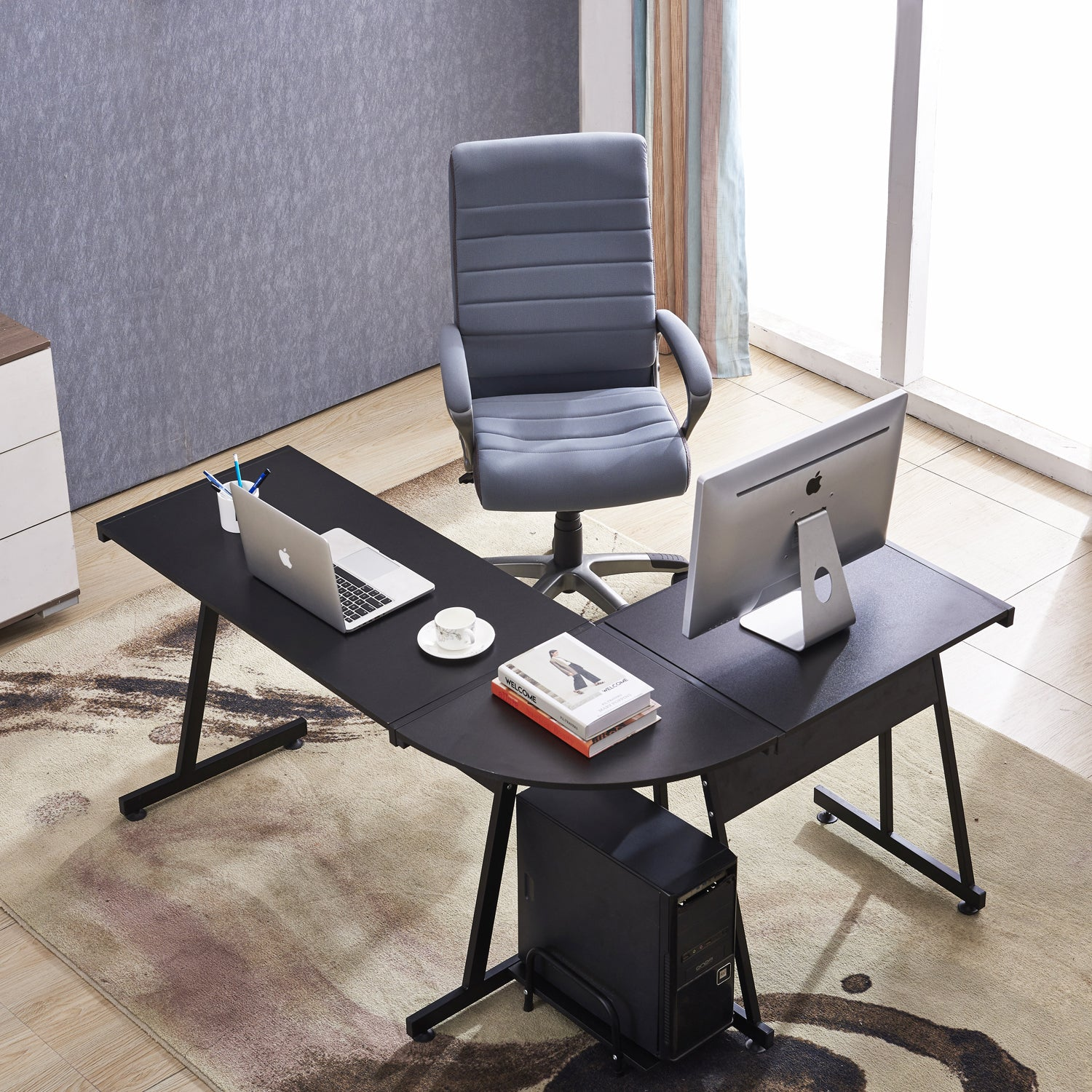 Office Desk Corner L Shaped Workstation Laptop Table With Keyboard Tray And  CPU Stand,MFB Black/Brown 6090 7112BK 6090 7122BK
