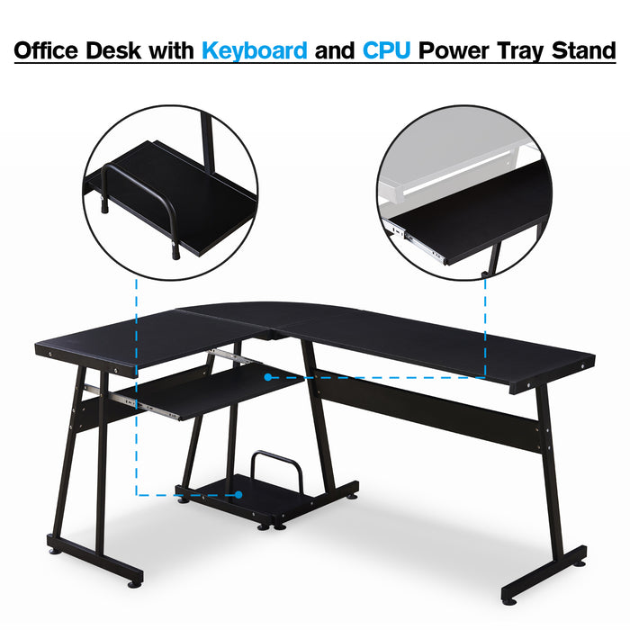 Office Desk Corner L Shaped Workstation Laptop Table with Keyboard Tray and CPU Stand,MFB Black/Brown