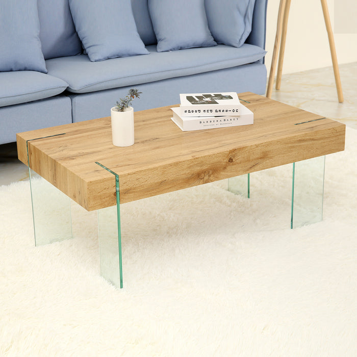 Mcombo Modern Mid-Century Glass Rectangular Coffee Table for Living Room  Modern Accent Table Sofa Table 42\