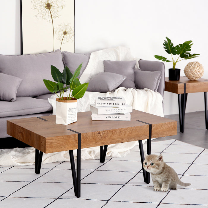 "Mcombo Mid-Century Rectangular Coffee Table for Living Room Modern Accent Table Sofa Table 42""x 24"" x 17"" 6090-KAPER-CT"