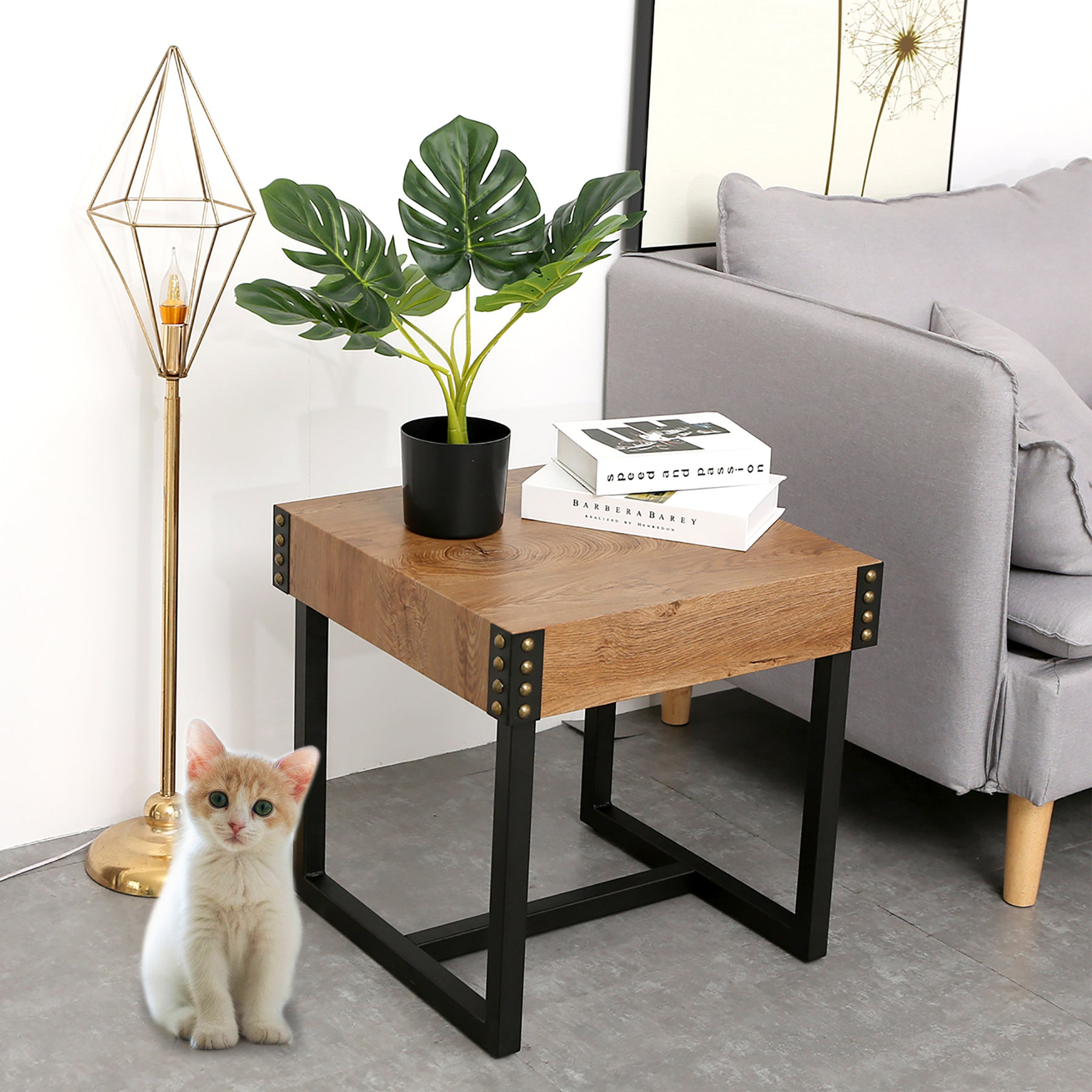 Mcombo End Tables Side Table Night Stand Rustic Modern Style With Thic — Mcombo